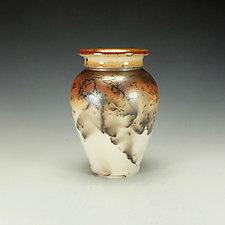 Tall Horsehair Raku Stoneware Vessel II by Lance Timco (Ceramic Vessel)