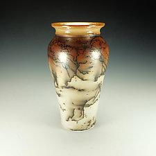 Tall Horsehair Raku Stoneware Vessel III by Lance Timco (Ceramic Vessel)