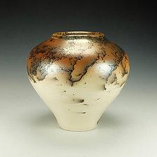 Horsehair Raku Stoneware Vessel VII by Lance Timco (Ceramic Vessel)