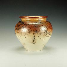 Horsehair Raku Stoneware Vessel VIII by Lance Timco (Ceramic Vessel)