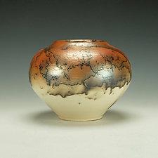 Horse Hair Raku Stoneware Vessel X by Lance Timco (Ceramic Vessel)