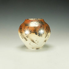 Horsehair Raku Stoneware Vessel XI by Lance Timco (Ceramic Vessel)