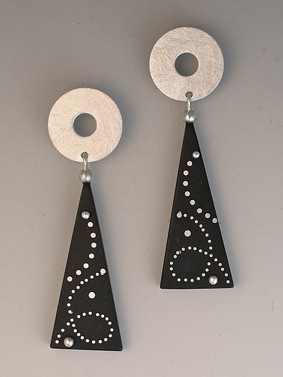 Ebony Earrings, with Swirl Silver Inlay and Silver Disc Tops