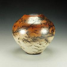 Horsehair Raku Stoneware Vessel XIII by Lance Timco (Ceramic Vessel)
