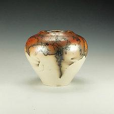 Horse Hair Raku Stoneware Vessel XIV by Lance Timco (Ceramic Vessel)