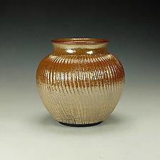 Raku Vessel with Orange Crackle Glaze by Lance Timco (Ceramic Vessel)
