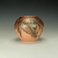 Horsehair Raku Vessel in Orange I by Lance Timco (Ceramic Vessel)