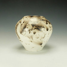 Horse Hair Raku Vessel in White I by Lance Timco (Ceramic Vessel)