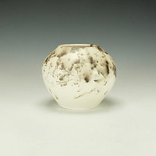 Horse Hair Raku Vessel in White II by Lance Timco (Ceramic Vessel)