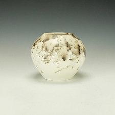Horsehair Raku Vessel in White II by Lance Timco (Ceramic Vessel)