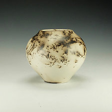 Horse Hair Raku Vessel in White III by Lance Timco (Ceramic Vessel)