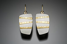 Rectangle Stripes by Tom McGurrin (Gold & Silver Earrings)
