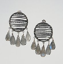 Filigree Studs with Labradorite by Ashley Vick (Silver & Stone Earrings)