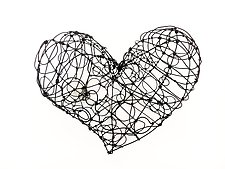 Wire Heart, Wide by Barbara Gilhooly (Metal Wall Sculpture)