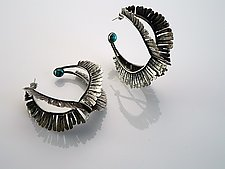 Hammered Hoop with Turquoise by Ashley Vick (Silver & Stone Earrings)