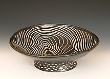 Round Pedestal Bowl by Larry Halvorsen (Ceramic Bowl)