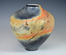 Smoky Landscape Vessel by Judith  Motzkin (Ceramic Vessel)