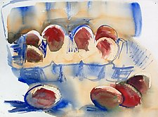 Eggs in and out of a Carton by Alix Travis (Watercolor Painting)