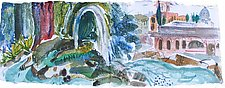 Borghese Garden Fountain, Rome by Alix Travis (Watercolor Painting)
