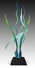 Day in the Marsh - Turquoise by Warner Whitfield and Beatriz Kelemen (Art Glass Sculpture)
