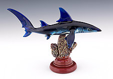 Blue Shark by Paul Labrie (Art Glass Sculpture)