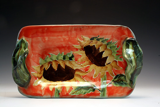 Butter/Appetizer Tray with Sunflower