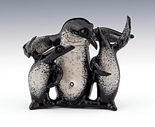 Penguin Family by Paul Labrie (Art Glass Sculpture)