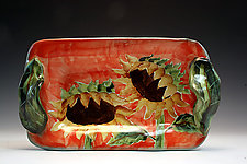 Butter/Appetizer Tray with Sunflower by Peggy Crago (Ceramic Tray)