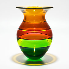 Color Block Vase in Spring by Michael Trimpol and Monique LaJeunesse (Art Glass Vase)