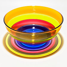 Five-Banded Bowl in Lime Mix by Michael Trimpol and Monique LaJeunesse (Art Glass Bowl)