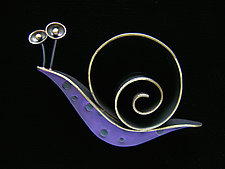 Slow Poke Pin by Lisa and Scott  Cylinder (Metal Brooch)