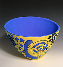 Vivid Yellow and Blue Abstract Vase by Jean Elton (Ceramic Vase)