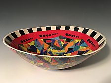 Geometric Bowl with Checkerboard Frame II by Jean Elton (Ceramic Bowl)