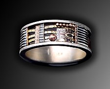 Davenport Ring 8mm with Patina Silver Band by Lynda Bahr (Gold & Silver Ring)