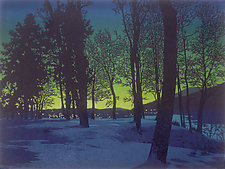 Twilight Village by William Hays (Linocut Print)