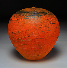 Dark Orange Spiral by Nicholas Bernard (Ceramic Vessel)