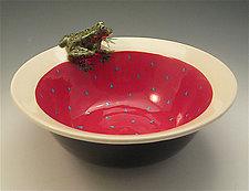 Red Leopard Frog Bowl by Lisa Scroggins (Ceramic Bowl)