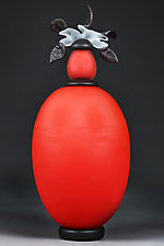 Novi Zivot (New Life) Satin Vermilion by Eric Bladholm (Art Glass Vessel)