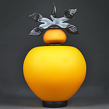 Novi Zivot (New Life) Satin Honey Sphere by Eric Bladholm (Art Glass Vessel)