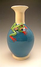 Small Turquoise Frog Vase by Lisa Scroggins (Ceramic Vase)