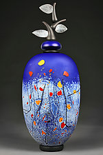 Izrazi Zivota (Expressions of Life) Satin Indigo Abstract by Eric Bladholm (Art Glass Vessel)