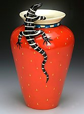 Classic Lizard Vase by Lisa Scroggins (Ceramic Vase)