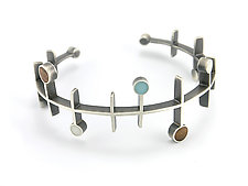 Frequency Bracelet by Matthew Smith (Silver, Wood, & Resin Bracelet)