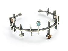 Frequency Bracelet by Matthew Smith (Silver, Wood, & Resin Bracelet)