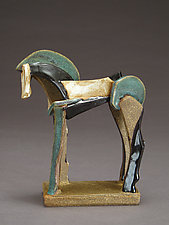 Tricolor Reduction Series, Icelandic Horse by Jeri Hollister (Ceramic Sculpture)
