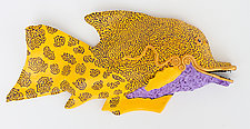 Purple Belly Sunfish by Byron Williamson (Ceramic Wall Sculpture)