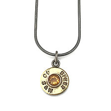 Peace Fire Speer 40 S&W with Citrine by Alexan Cerna and Gina  Tackett (Brass & Stone Necklace)