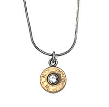 Peace Fire Win 40 S&W White Sapphire by Alexan Cerna and Gina  Tackett (Brass & Stone Necklace)