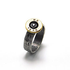 Peace Fire Black Diamond and Bullet Ring by Alexan Cerna and Gina  Tackett (Silver, Brass & Stone Ring)