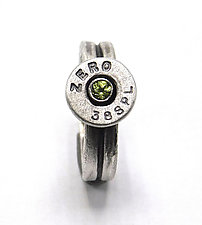 Peace Fire Peridot Bullet Ring by Alexan Cerna and Gina  Tackett (Silver, Brass & Stone Ring)